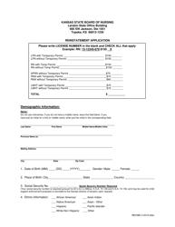"""Reinstatement Application"" - Kansas"