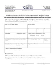 """Verification of Advanced Practice Licensure Request Form"" - Kansas"