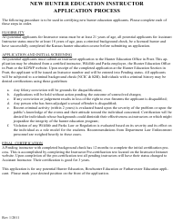 """""""Hunter Education Instructor Application"""" - Kansas"""