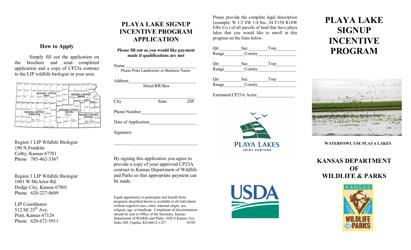 """Playa Lake Signup Incentive Program Application"" - Kansas"
