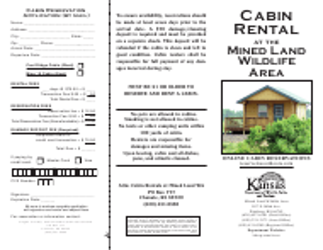 """Mined Land Wildlife Area Cabin Reservation Application"" - Kansas"
