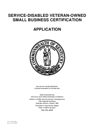 """Form SDVOSB_1 """"Service-Disabled Veteran-Owned Small Business Certification Application"""" - Kentucky"""