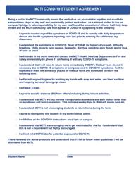"""Mcti Covid-19 Student Agreement"" - Michigan"