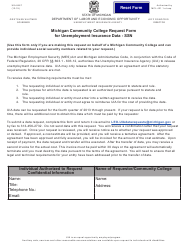 """Form UIA6467 """"Michigan Community College Request Form for Unemployment Insurance Data - Ssn"""" - Michigan"""