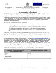 "Form UIA6468 ""Michigan Community College Request Form for Unemployment Insurance Data"" - Michigan"