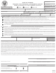"Form MV2 ""Request for Personal Assignment and/or Home Storage of State-Owned Vehicle"" - Louisiana"