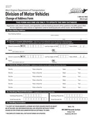 "Form DMV-98-TRB ""Change of Address Form"" - West Virginia"