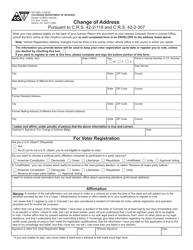 "Form DR2285 ""Change of Address"" - Colorado"