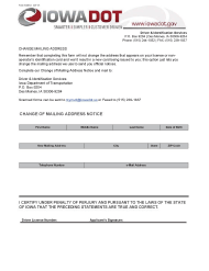"Form 430012 ""Change of Mailing Address Notice"" - Iowa"