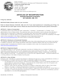 "Form 08-400 ""Articles of Incorporation - Domestic Business Corporation"" - Alaska"