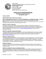 "Form 08-438 ""Articles of Incorporation - Domestic Nonprofit Corporation"" - Alaska"