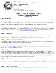 "Form 08-462 ""Articles of Incorporation - Domestic Cooperative Corporation"" - Alaska"