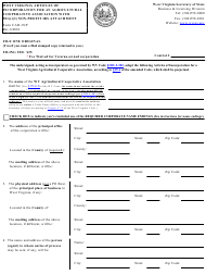 "Form CAD-1NP ""West Virginia Articles of Incorporation for an Agricultural Cooperative Association With 501(C)(3) Non-profit IRS Attachment"" - West Virginia"