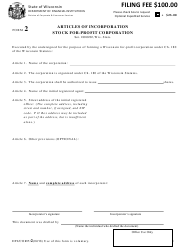 "Form DFI/CORP/2 ""Articles of Incorporation Stock for-Profit Corporation"" - Wisconsin"