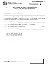 "Form DFI/CORP/8 ""Restated Articles of Incorporation Stock for-Profit Corporation"" - Wisconsin"