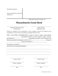 """""""Grant Deed Form"""" - Massachusetts"""