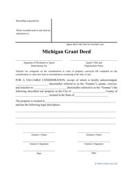 """Grant Deed Form"" - Michigan"