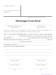 """""""Grant Deed Form"""" - Mississippi"""