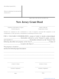 """""""Grant Deed Form"""" - New Jersey"""