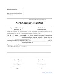 """Grant Deed Form"" - North Carolina"
