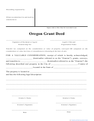 """""""Grant Deed Form"""" - Oregon"""