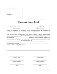 """Grant Deed Form"" - Montana"