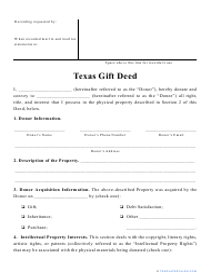 """Gift Deed Form"" - Texas"