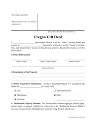"""Gift Deed Form"" - Oregon"