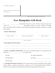 """""""Gift Deed Form"""" - New Hampshire"""