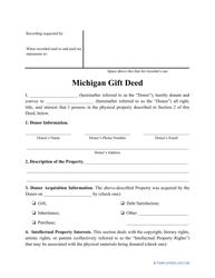 """Gift Deed Form"" - Michigan"