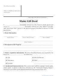 """""""Gift Deed Form"""" - Maine"""