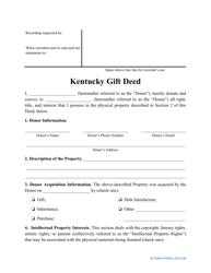"""""""Gift Deed Form"""" - Kentucky"""