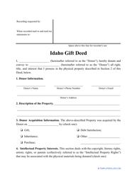 """""""Gift Deed Form"""" - Idaho"""