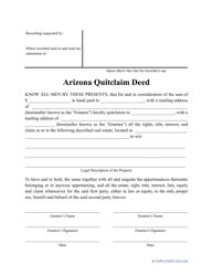 """Quitclaim Deed Form"" - Arizona"