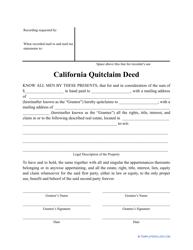 """""""Quitclaim Deed Form"""" - California"""