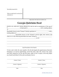 """Quitclaim Deed Form"" - Georgia (United States)"
