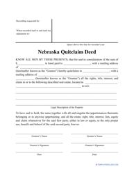 """Quitclaim Deed Form"" - Nebraska"
