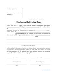 """""""Quitclaim Deed Form"""" - Oklahoma"""