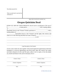 """Quitclaim Deed Form"" - Oregon"