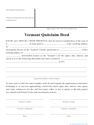 """Quitclaim Deed Form"" - Vermont"