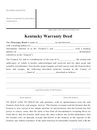 """Warranty Deed Form"" - Kentucky"