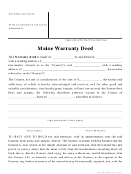 """Warranty Deed Form"" - Maine"