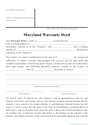 """Warranty Deed Form"" - Maryland"
