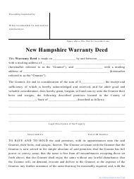 """Warranty Deed Form"" - New Hampshire"