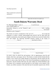 """Warranty Deed Form"" - South Dakota"