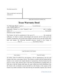 """""""Warranty Deed Form"""" - Texas"""