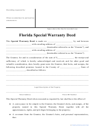 """Special Warranty Deed Form"" - Florida"