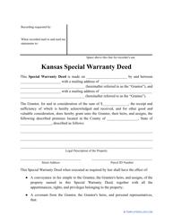 """Special Warranty Deed Form"" - Kansas"