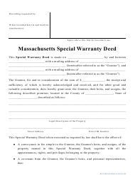 """Special Warranty Deed Form"" - Massachusetts"