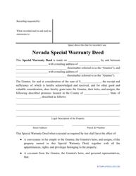 """""""Special Warranty Deed Form"""" - Nevada"""